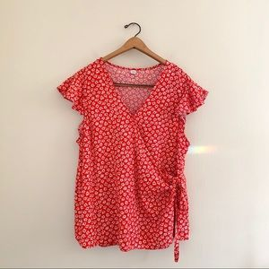 Old Navy Floral Red Daisy Casual Wrap Blouse XL